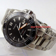 43mm Parnis black dial Sapphire glass 20ATM Ceramic Bezel automatic mens watch