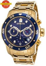 Invicta Men's 0073 Pro Diver Scuba Gold Plated Steel Chronograph Watch Blue