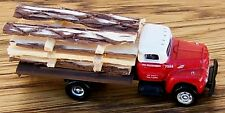 N Classic Metal Works-Red & White UNDEC 6 Wh Flat Bed Truck w/Rough Cut Lumber
