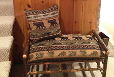 """40"""" Rustic Hickory Upholstered Bench Bear Creek Fabric"""