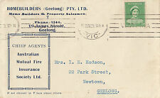 Stamp 1939 Queen mother 1d green on HOMEBUILERS Geelong Victoria advertise cover