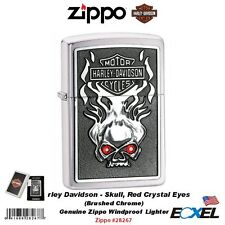 Zippo 28267, Harley-Davidson Skull Lighter, Red Crystal Eyes, Brushed Chrome