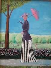 LADY IN THE PARK, OIL ON CANVAS PAINTING - with WOOD FRAME