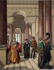Le GRAND ESCALIER du LOUVRE (Percier et Fontaine) (d'après Isabey) - Gravure 19e