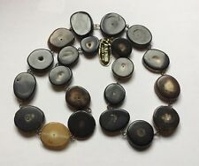 Vintage Polished Bovine Cow Buffalo Horn Disc Beads Necklace Blonde To Dark