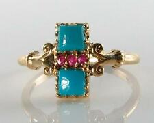 RARE 9CT GOLD ART DECO INS PERSIAN TURQUOISE & INDIAN RUBY RING