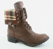 Women's Lace Cuff Round Toe Combat Mid Calf Ankle Boots Shoes Size 5.5 - 11 NEW
