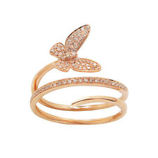 WIDE 14K ROSE GOLD PAVE DIAMOND BUTTERFLY WRAP COCKTAIL BAND RING