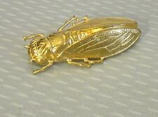 "old vtg French goldplated METAL CICADA PIN 1-7/8"" lucky bug detailed insect"