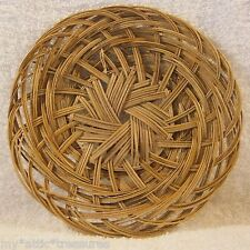 "Small 7"" Round WICKER Woven BASKET Flat Plate Display Charger Gift Trinket Dish"