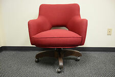 RED mid century modern eames knoll style fabric saarinen OFFICE SWIVEL CHAIR
