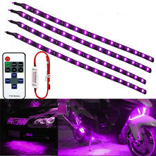 """Wireless Remote Control Motorcycle 12"""" 30CM Purple 15LED Light Strip Kit For BMW"""
