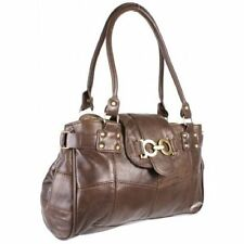 NEW LADIES WOMENS REAL COWHIDE PATCH LEATHER SHOULDER HAND BAG BROWN 3764