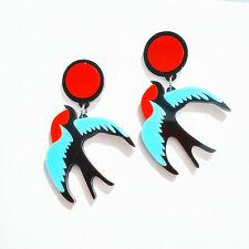 Boucles d`Oreilles Clips Oiseau Volant Multicolore Rouge Bleu Noir Retro B12