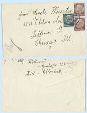 Germany 1939 #410 419 x2  Hindenburg Issue Cover to Chicago Illinois USA