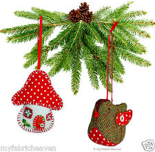 2 X Christmas Decorations Ornaments Sewing PATTERNS Robin & Toadstool House Easy