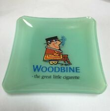 Vintage Glass Woodbine Cigarettes Ashtray - 'The Great Little Cigarette' EXC