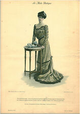 """Publicité Ancienne """" La Mode Pratique -Toilette de Diner Mousseline  No 8  -1902"""