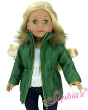"""Doll Clothes AG 18"""" Jacket Olive Green Nylon Sophia's Fits American Girl Dolls"""