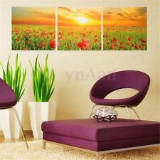 3 Panel Abstract Poppy Flower Unframed Canvas Print Wall Art Picture Home Decor