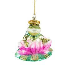SASS AND BELLE FROG GLASS CHRISTMAS DECORATION KITSCH GREEN PINK GOLD UNUSUAL