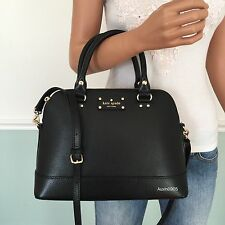 NEW! KATE SPADE Black Wellesley Leather Satchel Shoulder Bag Crossbody Purse