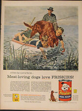 1956 Douglass Crockwell~Friskies Dog Food Irish Setter Frog Hunting Fishing Ad