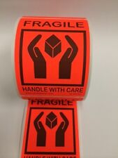 """250 FRAGILE Labels Stickers 4.250"""" x 3.125""""Red Neon Fluorescent Color 250 NEW"""