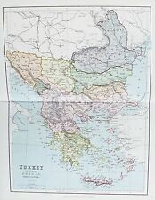 OLD ANTIQUE MAP TURKEY IN EUROPE GREECE SERBIA BOSNIA c1879 by G PHILIP COLOURED