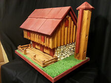 Country Barn Bird Feeder Amish Handmade Handcrafted Natural Color Red Roof