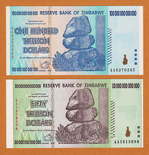 Zimbabwe 50 & 100 Trillion Dollars PAIR AA- 2008 Pick-90 & 91 UNC
