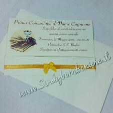 Inviti INVITO per PRIMA COMUNIONE Biglietto busta GRAFICA in Omaggio Nastro Pers