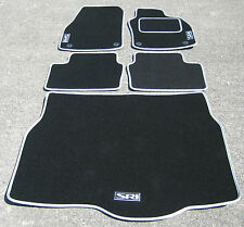 Car Mats in Black/Silver to fit Vauxhall Astra Mk5 (04-09)+ SRI Logos + Boot Mat