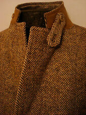 42 S Mens Vtg HARRIS TWEED Beige Brown HERRINGBONE Wool Jacket Blazer Sportcoat