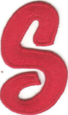 "SCRIPT LETTERS - Red Script  2"" Letter ""S"" - Iron On Embroidered Applique"