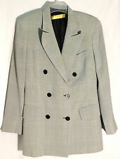 DONNA KARAN SIGNATURE Black-Off White Herringbone Plaid Jacket/Blazer - Italy -8