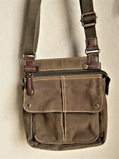"Fossil Khaki/Green Canvas Cross Body Messenger bag Purse Sz:8x9x2"" Top zip"