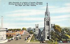 Wyoming postcard Laramie panorama 3rd St St. Mathew's Abbey Post Office etc