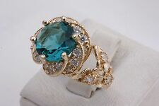 Turkish Handmade Turquoise Topaz 925 K Sterling Silver Women's Ring Size 8