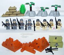 Custom Lego World War 2 German vs USA Military Soldiers Army Minifigures & Brick