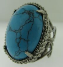 Sorrelli Teal Textile Ring RCW50ASTT antique silver tone