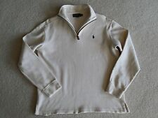 Men's Polo Ralph Lauren 1/4 Zip Sweater Leather Zipper Pull Long Sleeve Size M