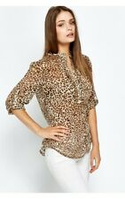 BNWT Size X Large Ladies Zara Leopard Animal Print Chiffon Blouse/Top