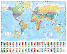 WORLD MAP (LAMINATED) POSTER (40x50cm) EDUCATIONAL TRAVEL CHART NEW LICENSED ART