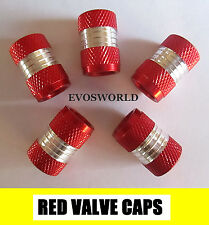 RED CHROME VALVE TYRE DUST WHEEL CAPS VOLVO V50 ESTATE