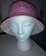CUTE! NEW Women's Pink and Striped Reversible Cotton Bucket Hat Sz OSFM