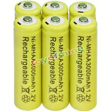 6x AA battery batteries Bulk Nickel Hydride Rechargeable NI-MH 3000mAh 1.2V Yel
