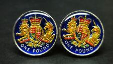 2015 UK Great British coin cufflinks pound Royal coat of arms