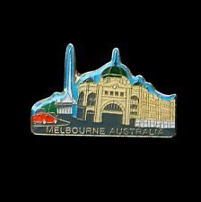 Australian Souvenir Enamel Australia Melbourne Train Rail Station Hat Pin Lapel
