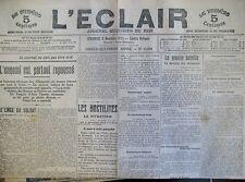 WW1 GUERRE BELGIQUE NIEUPORT DIXMUDE ANVERS COMMUNIQUéS JOURNAL L'ECLAIR 11/1914